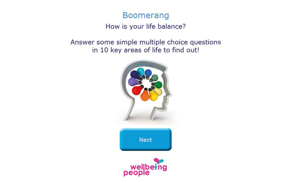 Boomerang Life Balance Kiosk Start Screen