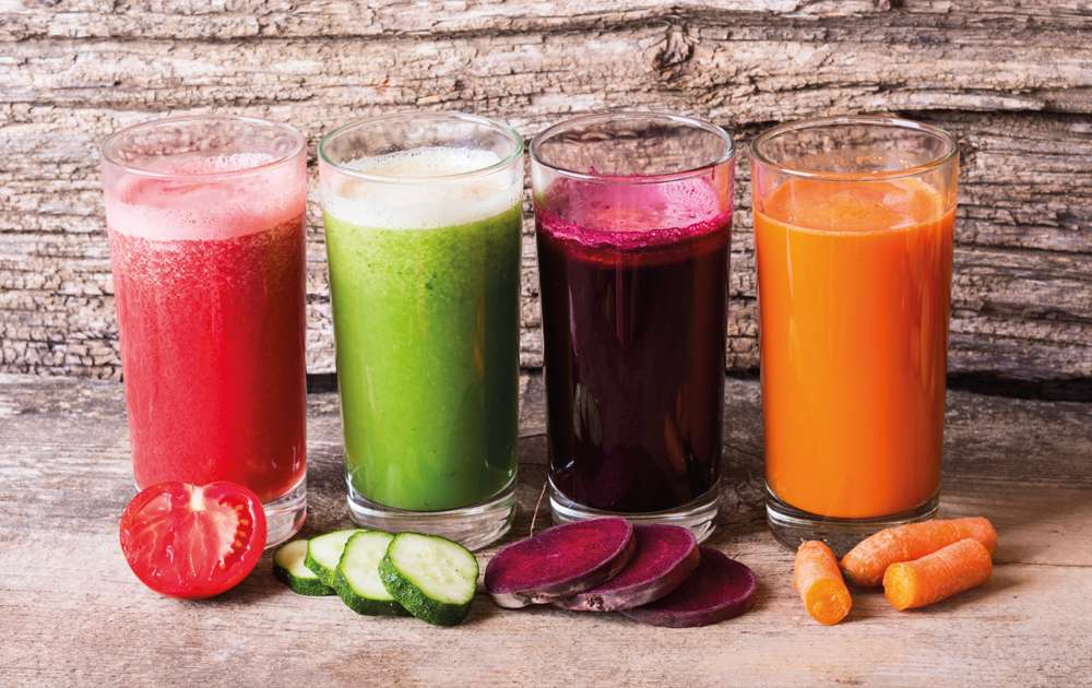 Variety of Raw Fruit and Vegetable Juices