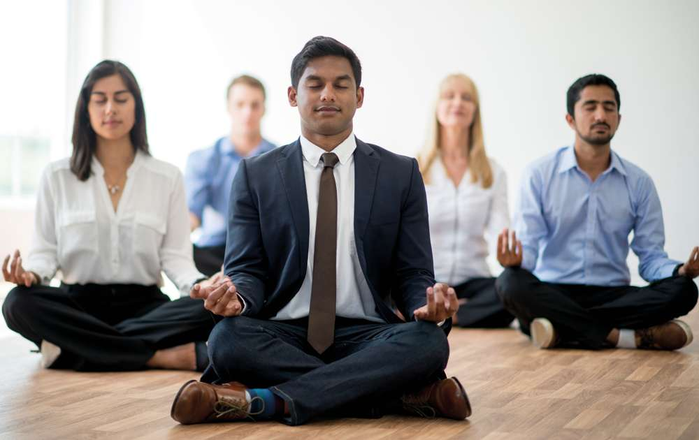 Office Group Meditating